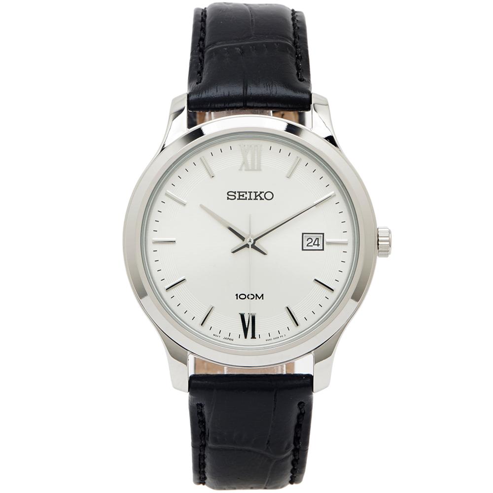 SEIKO 雅痞時尚款男性皮革錶帶手錶(SUR225P1)-銀面x黑色/40mm