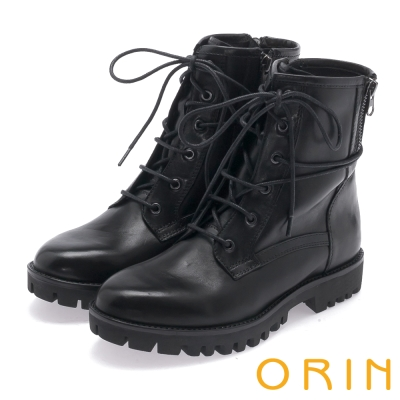 ORIN 中性街頭帥氣 嚴選蠟感牛皮綁帶帥氣軍靴-黑色