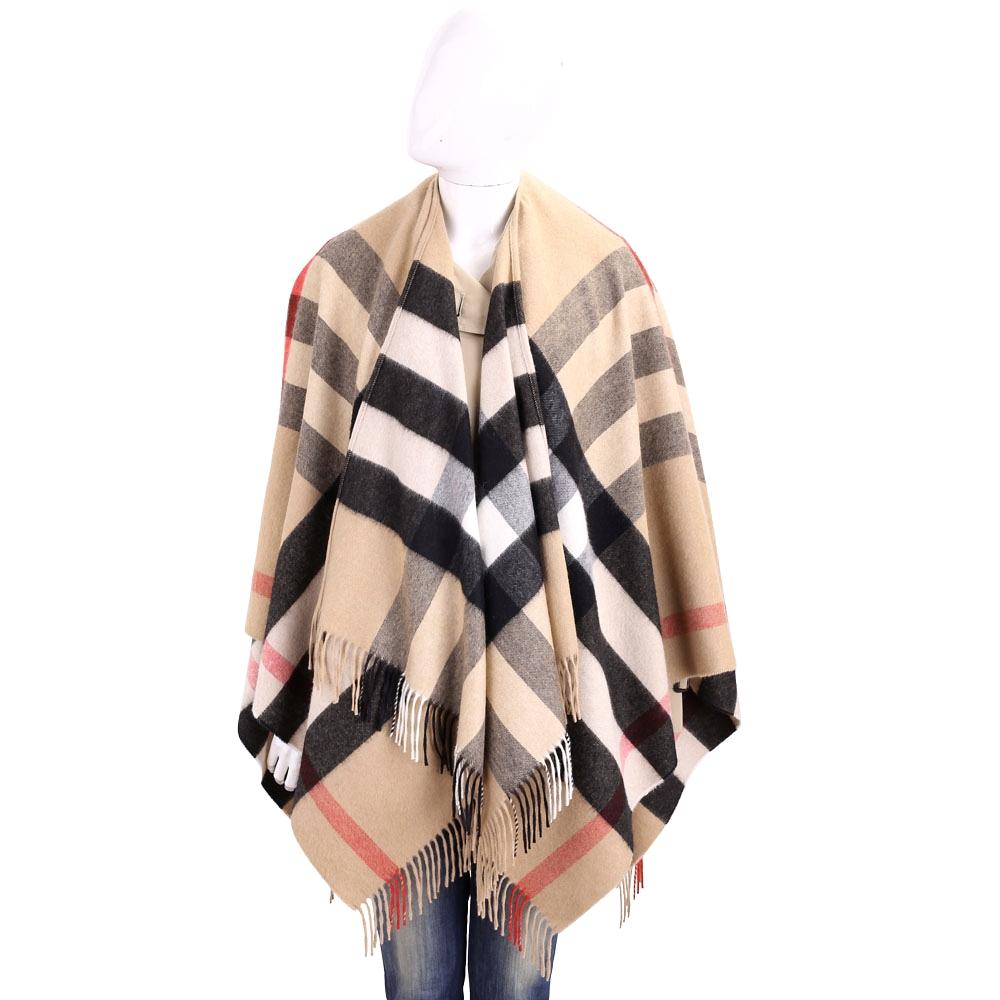 BURBERRY 喀什米爾與美麗諾羊毛棕色格紋斗篷
