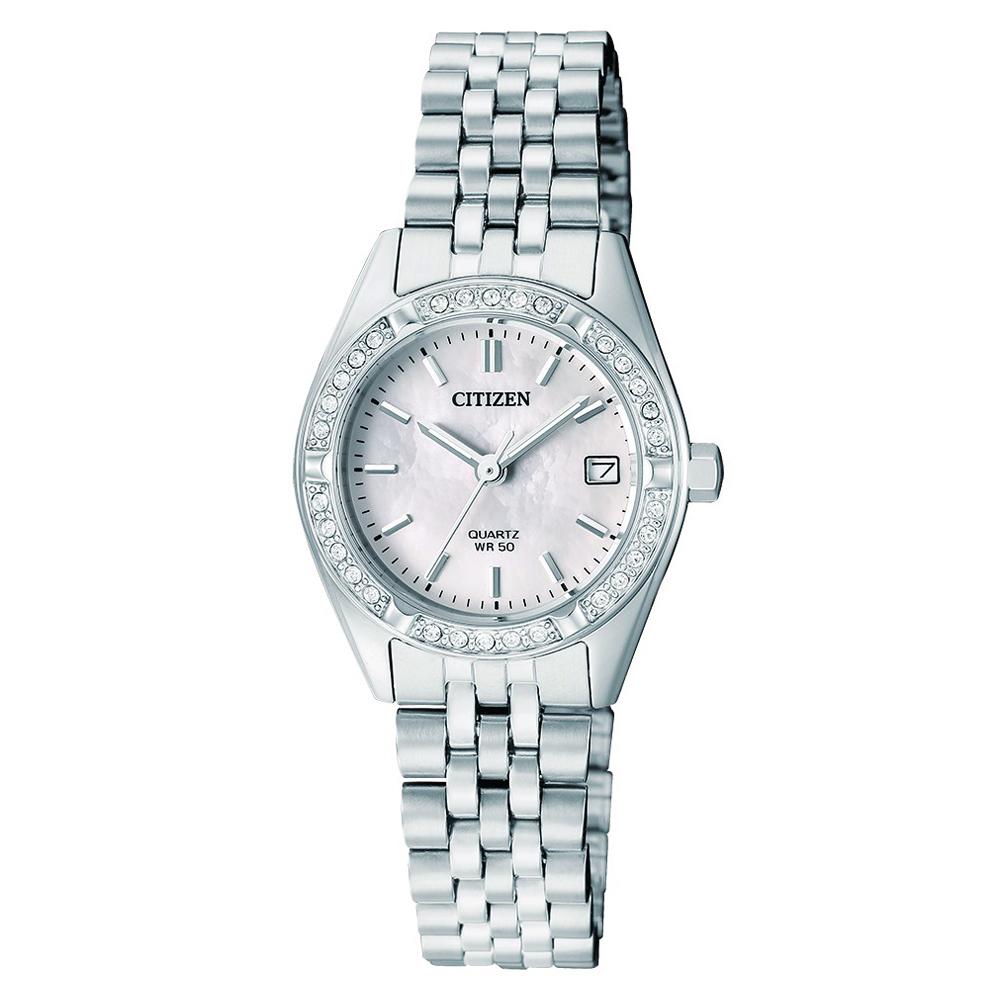 CITIZEN 施華洛世奇錶圈珍珠錶盤閃耀女仕手錶(EU6060-55D)-白/26mm