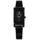 CITIZEN 秀氣細緻 晶鑽刻度 礦石強化玻璃不鏽鋼手錶-鍍黑/14mm