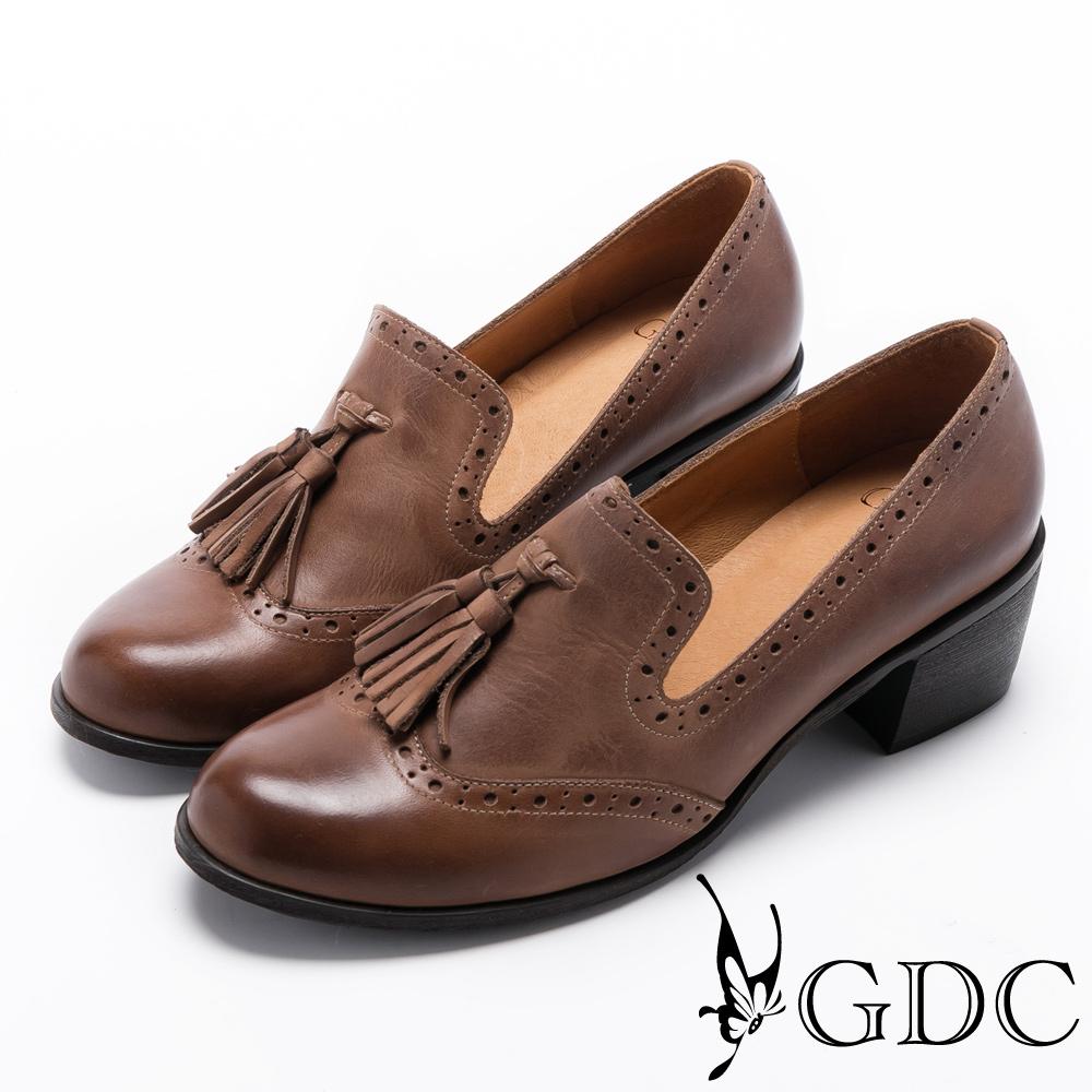 GDC-真皮舒適擦色流蘇牛津鞋-卡其色