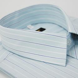 【金安德森】淺藍底寬紋藍白條紋長袖襯衫