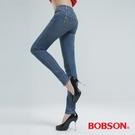 BOBSON 強彈力小直筒褲-中古藍 8116-53