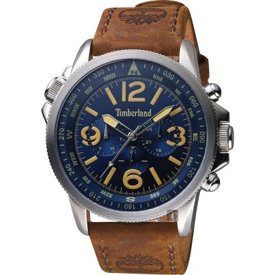 Timberland天柏嵐 叢林野戰時尚日曆男錶-藍x咖啡/45mm