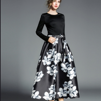 ABELLA 艾貝拉 圓領綁帶石蓮印花大擺蓬蓬長裙洋裝(S-XL)
