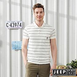JEEP亨利領細條紋彈性短袖POLO衫-白