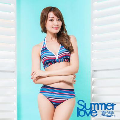 夏之戀SUMMERLOVE 連身褲三件式泳衣 漸層深藍條紋