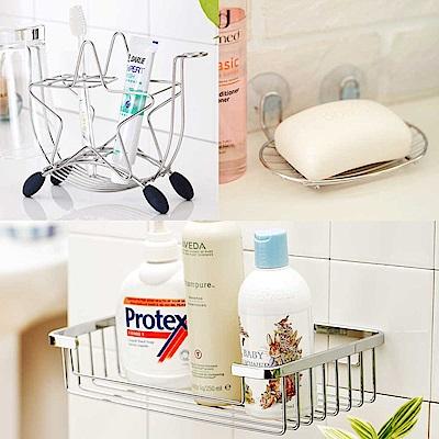 Home Feeling 不鏽鋼衛浴三件組(置物架+牙刷架+肥皂架)