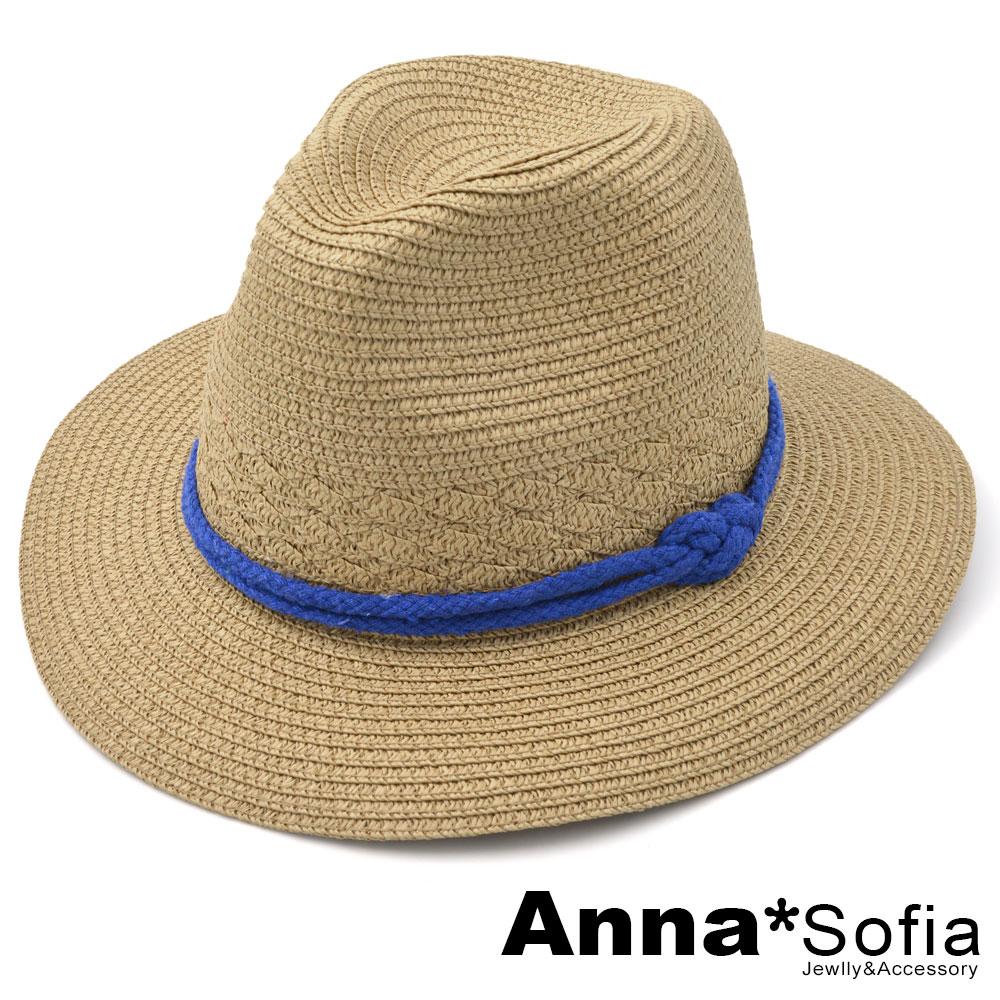 【均一價,2件再折扣】AnnaSofia 8字繩結帶 寬簷防曬遮陽紳士帽爵士帽草帽(駝系)
