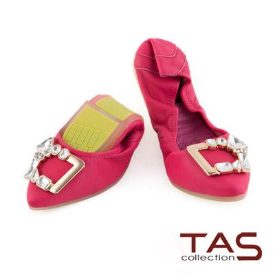 TAS-太妃Q系列-幾何金屬水鑽釦飾可折疊尖頭娃娃