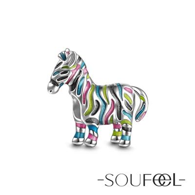 SOUFEEL索菲爾 925純銀珠飾 非洲彩色斑馬 串珠