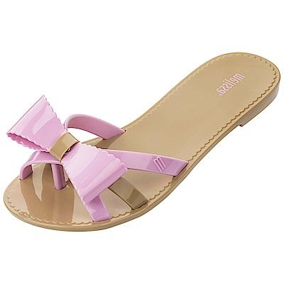 Melissa 交叉帶蝴蝶結夾腳鞋-卡其/粉