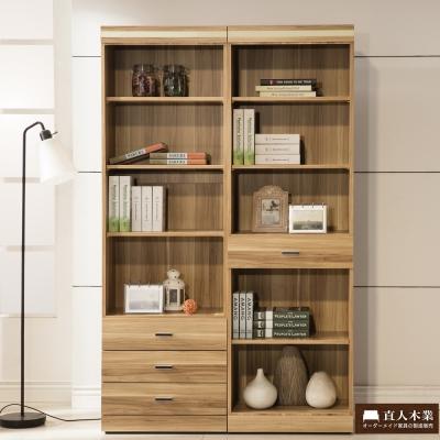 日本直人木業傢俱--LIKE一個3抽一個1抽書櫃(120x40x192cm)