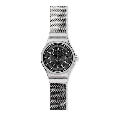 Swatch 51號星球機械錶 SISTEM MECHE S 銀灰米蘭手錶