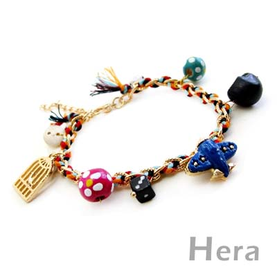 【Hera】玩色世界 編織墜多款甜美物造型手鍊(魅影金)