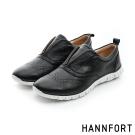 HANNFORT ZERO GRAVITY套入式真皮牛津氣墊鞋-女-神秘黑