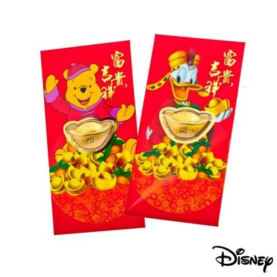 Disney迪士尼系列金飾-黃金元寶紅包袋-招財唐老鴨+平安維尼款