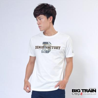 BIG TRAIN 丹寧牛仔圓領T-男-白色