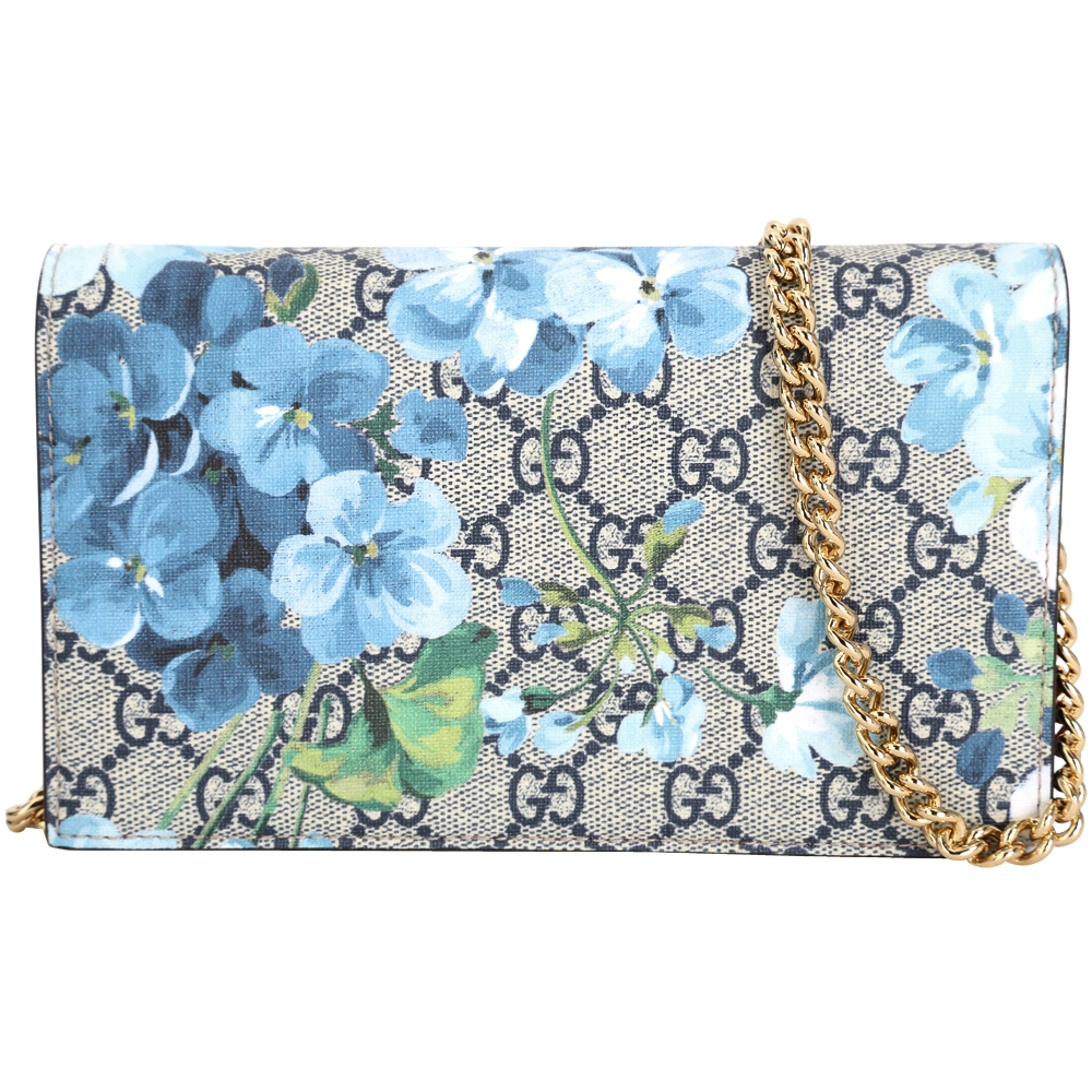 GUCCI Blooms GG Supreme花朵系列手拿鍊帶包藍色