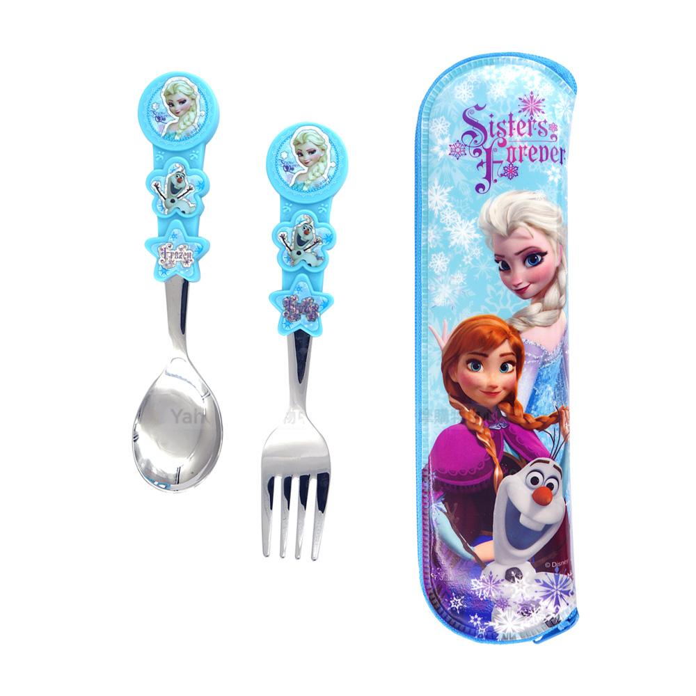 湯叉匙套組-冰雪奇緣附收納袋Elsa-藍色