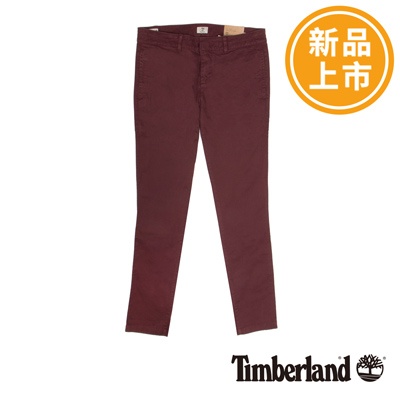 Timberland-女款酒紅色素面斜紋棉休閒長褲