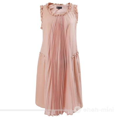 【ohoh-mini 孕婦裝】一衣到底優雅百摺孕婦洋裝