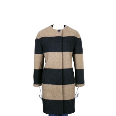 Max Mara 拼色橫條紋羊毛釦式大衣
