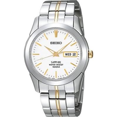 SEIKO 質感藍寶石水晶時尚腕錶(SGG719J1)-白x金/37mm