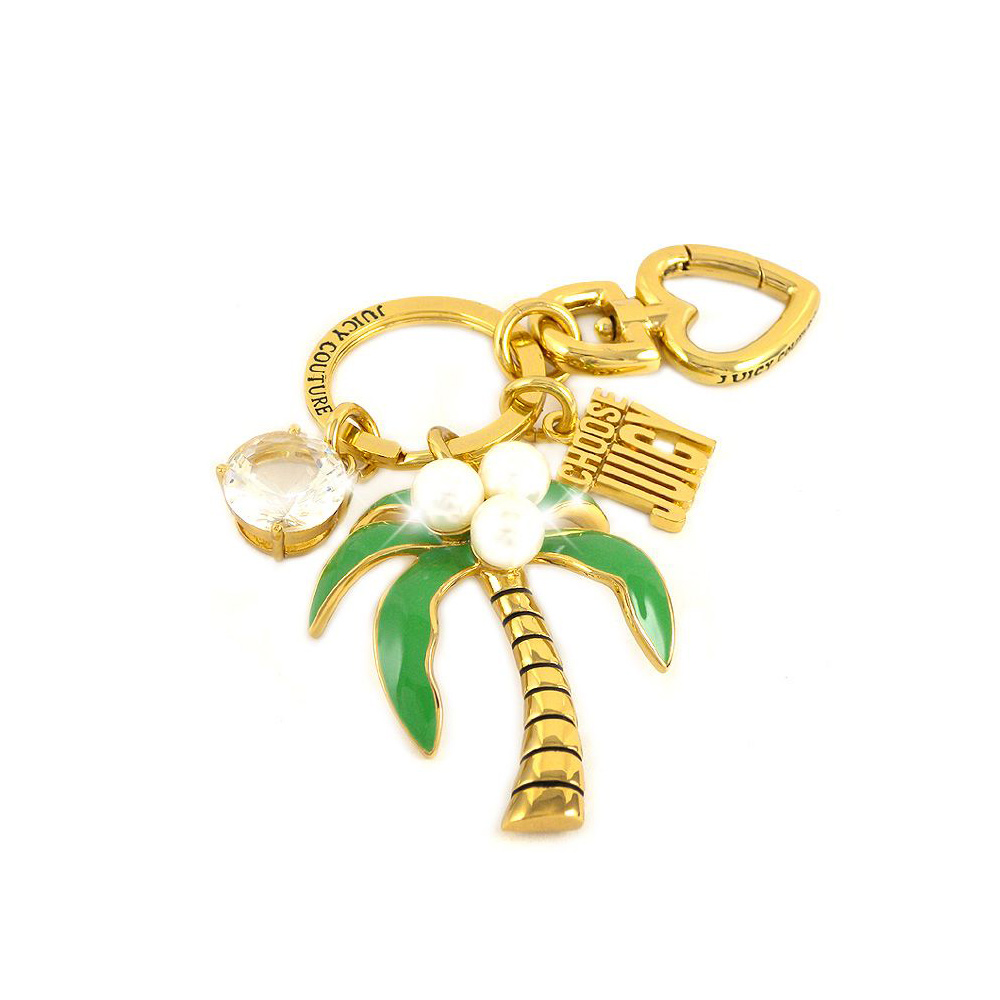 JUICY COUTURE 熱帶風情椰子樹晶鑽墜飾鑰匙圈吊飾