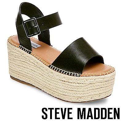 STEVE MADDEN-CABO-真皮一字寬版草編厚底鞋-黑色