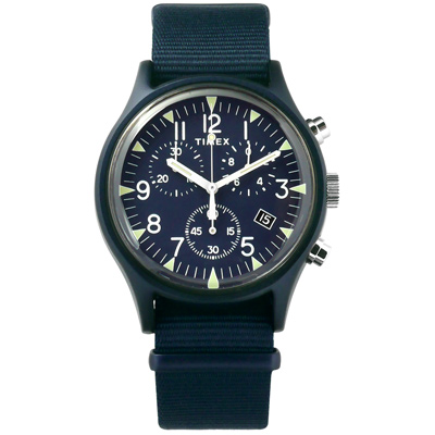 TIMEX 天美時 INDIGLO專利冷光照明 三眼計時 日期 帆布手錶-深藍色/40mm