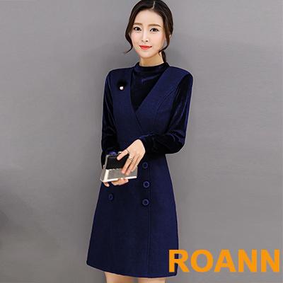 假兩件拼接金絲絨長袖洋裝 (共二色)-ROANN