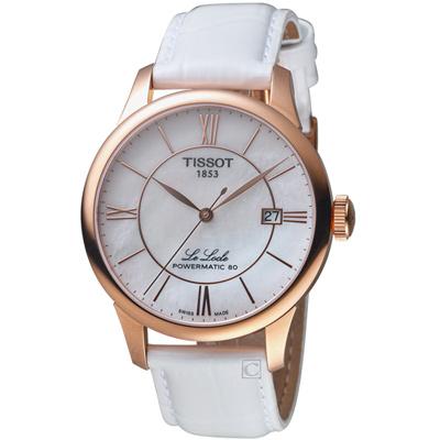 TISSOT天梭LE LOCLE80小時動力儲存女腕錶(T0064073611800)-白