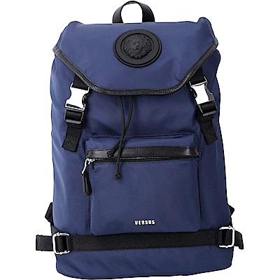 Versus Versace LION 經典獅頭徽章蓋式束口尼龍後背包(深藍色)