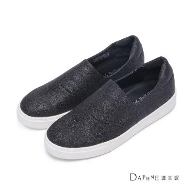 達芙妮DAPHNE-懶人鞋-素面金蔥平底休閒鞋-黑