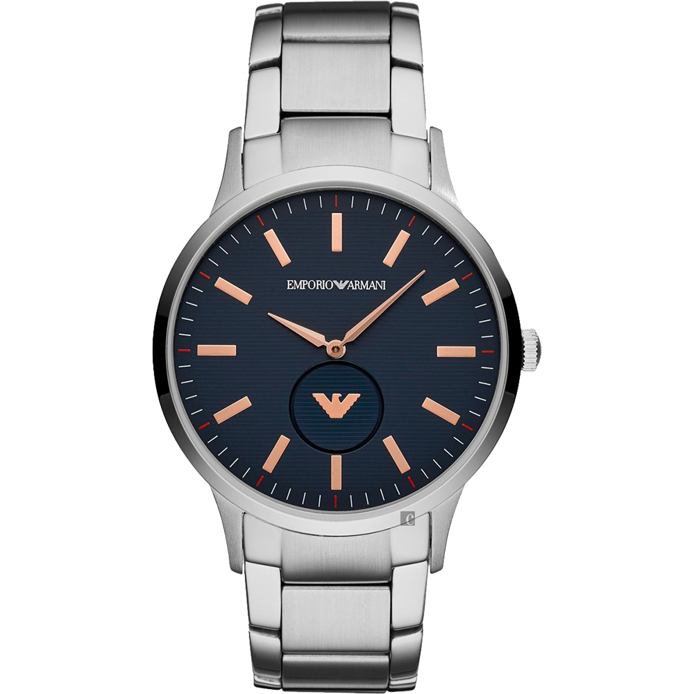 Emporio Armani 亞曼尼LOGO小秒盤手錶-玫瑰金時標x銀/43mm