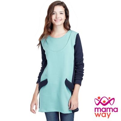 Mamaway 色塊內刷毛長版孕婦裝.哺乳衣(共二色)