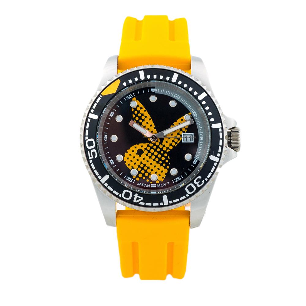 PLAYBOY 陽光運動風腕錶 亮麗橘帶+銀框/41mm