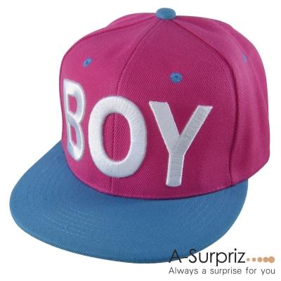 A-Surpriz 韓版街頭流行風字母BOY棒球帽(桃頂藍簷)