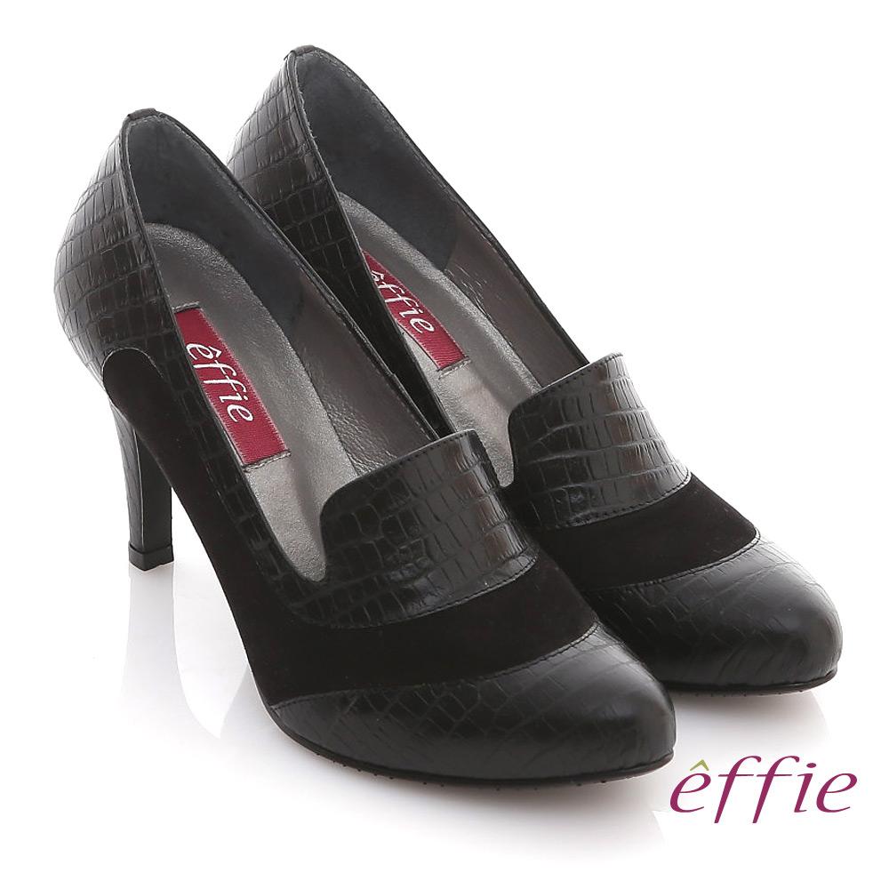 effie 都會風情 全真皮壓紋拼接樂福高跟鞋 黑