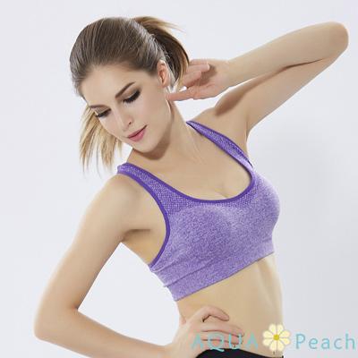 運動內衣 滾色邊混麻色無鋼圈內衣 (紫色)-AQUA Peach