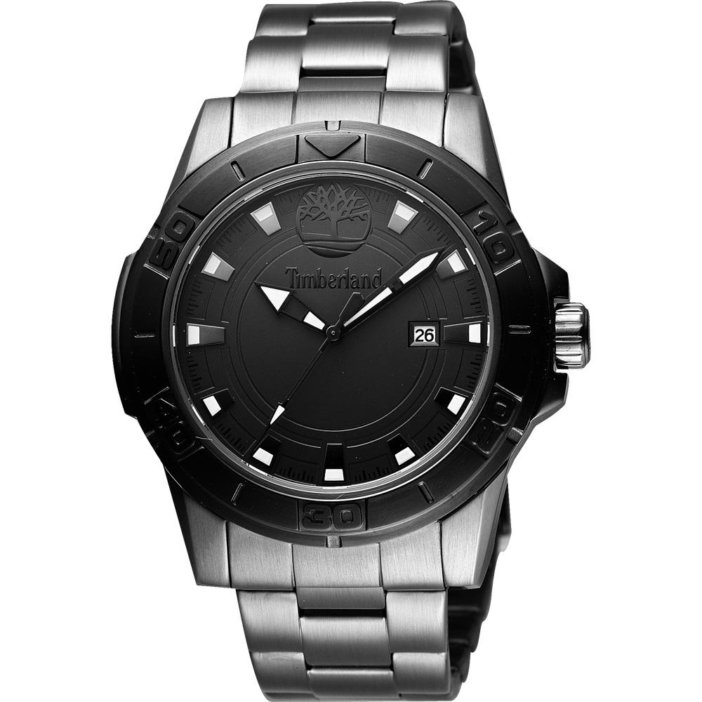 Timberland 紐約都會大三針時尚腕錶-黑/鐵灰/45mm