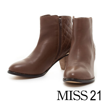 靴子 MISS 21 完美菱格車線水染牛皮粗跟短靴-咖