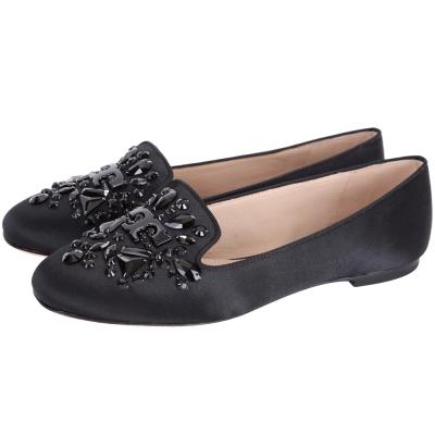 TORY BURCH Delphine 鑽飾花朵設計平底休閒鞋(黑色)
