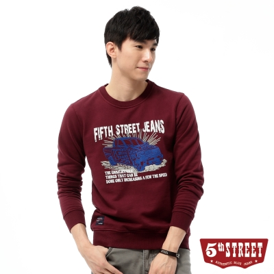 5th-STREET-復古車印圖長袖T恤-男-暗紅色
