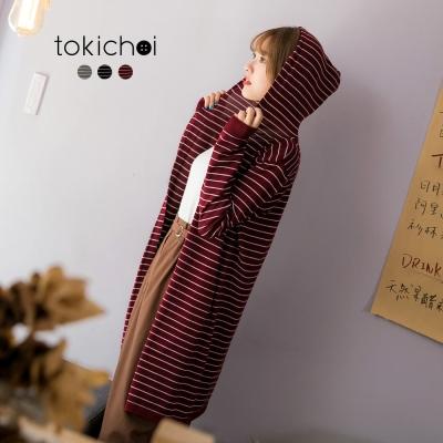 東京著衣 多色條紋連帽長版外套(共三色)
