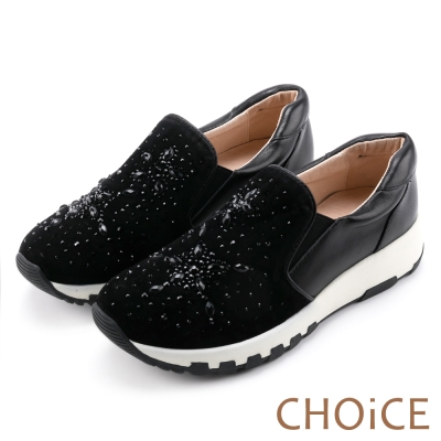 CHOiCE 舒適渡假款 牛皮絨布星星水鑽厚底休閒鞋-黑色