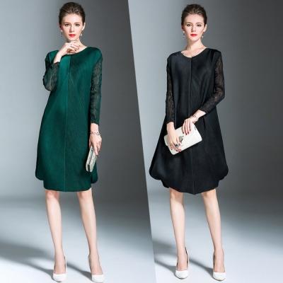 氣質優雅修身壓摺魚尾連身裙(共二色)-糖潮