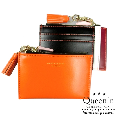 DF Queenin皮夾 - 流蘇拼色仿皮款隨身卡片夾小錢包-共4色